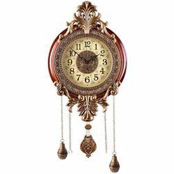 Wooden Metal Wall Clock Pendulum Modern Mahogany Ornate Carved 32 x 14 x 3