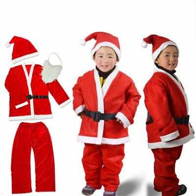 5Pcs / set Kids Christmas Santa Claus Costume Suit Child Xmas Fancy Dress Outfit - Boys Santa Suit