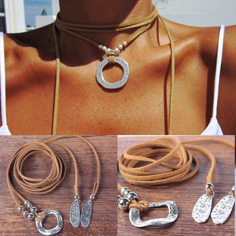 Womens Ladies Boho Necklace Suede Leather Long Sweater Choker Necklace Jewelry