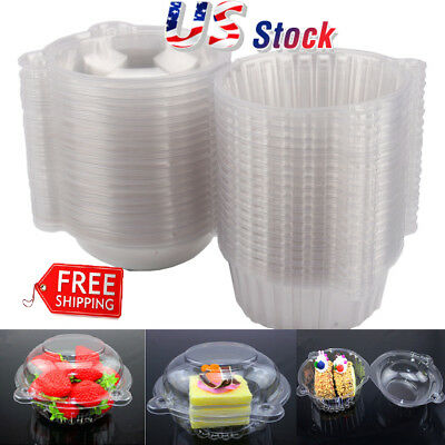 100-1000Pcs Single Cup Cake Case Muffin Pods Dome Holder Clear Plastic Boxes US - Single Cupcake Boxes
