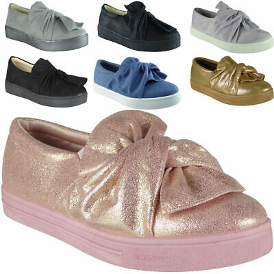 New Ladies Womens Faux Suede Trainers Flat Slip On Bow Sneakers Pumps Trainer Suede Flats