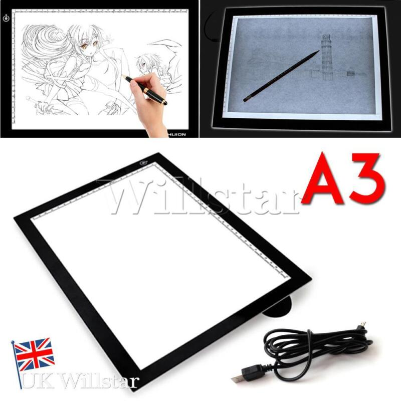 Ultra Thin A3 LED Copy Board Craft Tracing Drawing Stencil Table Pad Light Box