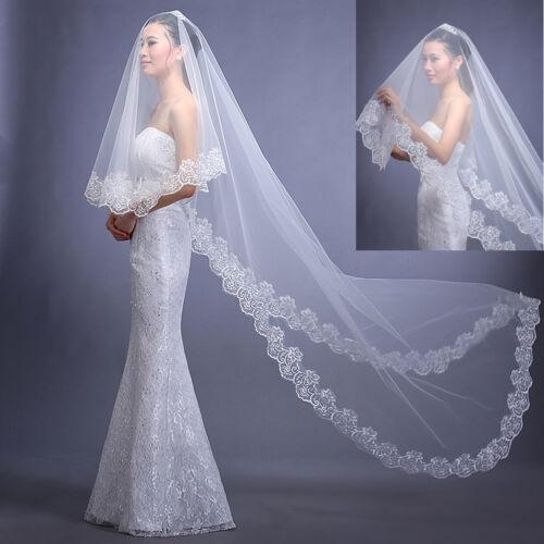White Ivory Cathedral Length Lace Edge Bride Wedding Bridal Veil