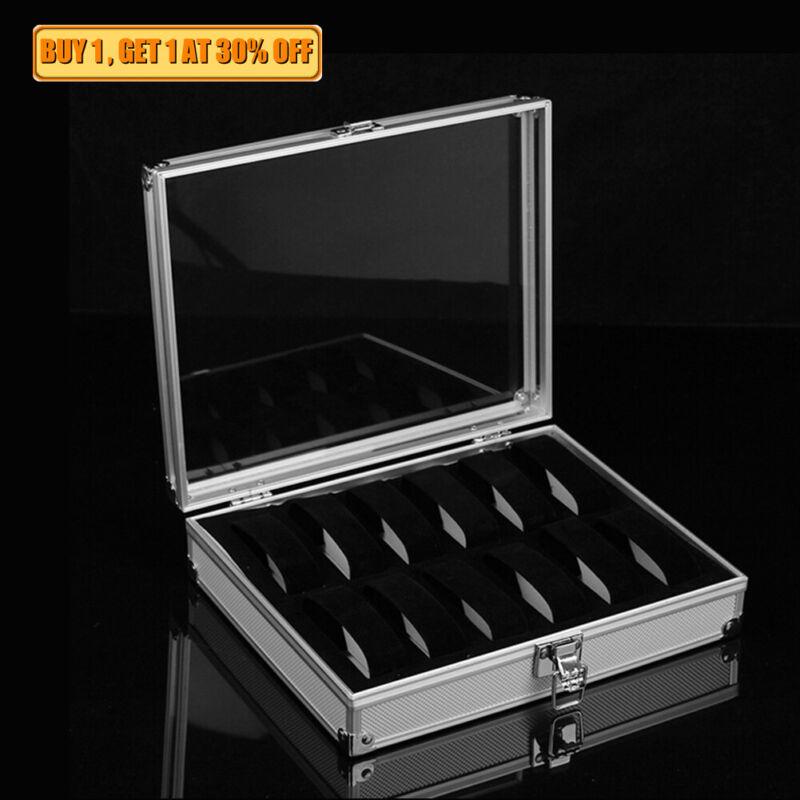 12 Slots Men Women Aluminium Watch Box Jewelry Storage Display Case Organizer US