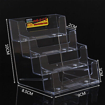4 Pocket Business Card Holder Acrylic Desk Stand Display Desktop Office Shelf