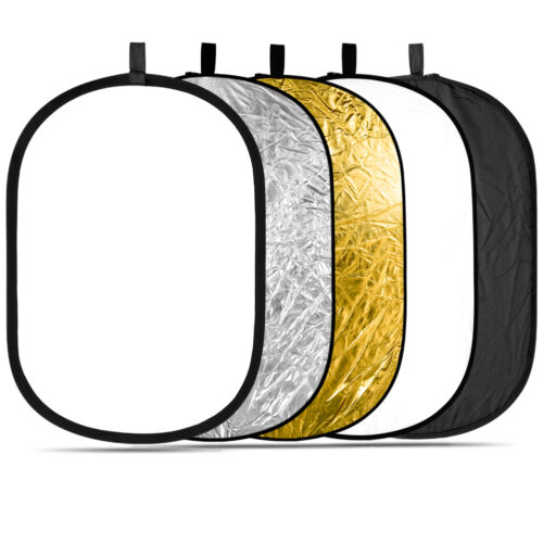"""Neewer 5 in 1 Portable 24""""x36"""" Collapsible Multi Disc Light Reflector Gold White"""