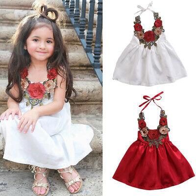 US Summer Toddler Kids Baby Girls Dress Flower Princess Party -