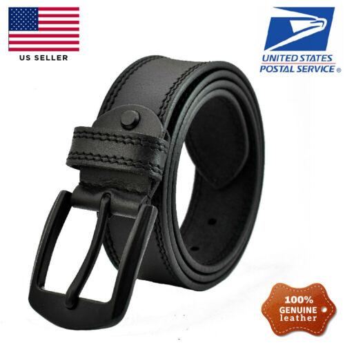 100% Mens Genuine Full Grain Leather Belt Casual Pin Buckle Brown Black Us Stock