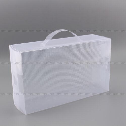 20x transparent clear plastic shoe storage box foldable stackable boxes. Black Bedroom Furniture Sets. Home Design Ideas