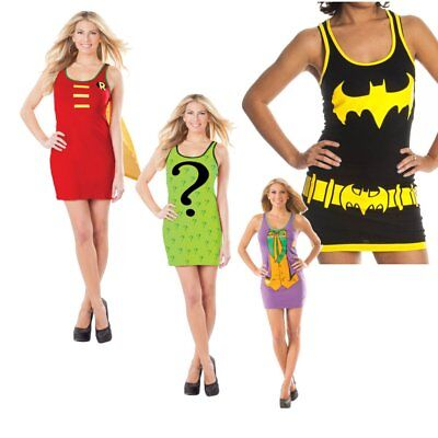 Batman Womens Tank Dress Costume (Choose Your Character) Movies Tunic Sexy](Movie Character Costumes Female)