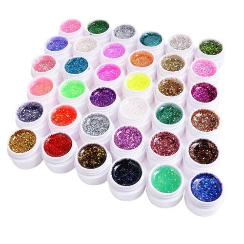 36 Farben Nail Art UV Gel Set Farbgel Glitter Flitter  für Fingernägel Design