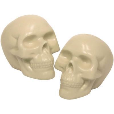 Human Skull Salt and Pepper Shakers Set Halloween Porcelain White 3.25