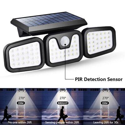 74led Outdoor Solar Power Light Motion Sensor Security Light 3 Heads Spotlight