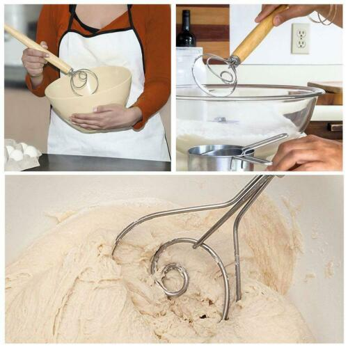 Stainless Steel Danish Dough Whisk with Wood Handle Kitchen Baking Tools US