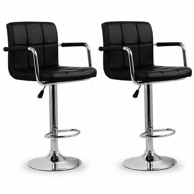 2 x Bar stools Adjustable Swivel Kitchen Breakfast Pub Leather Barstool with Arm