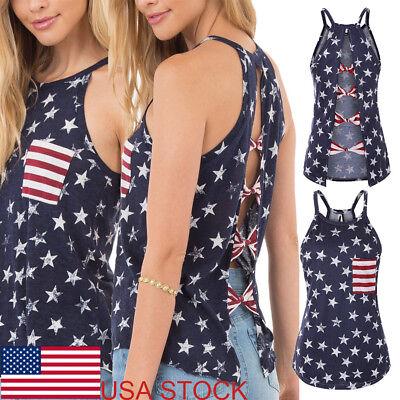 Fashion American Flag Women's Crop Top 4th Of July USA Pride Ladies Tank (American Flag Fashion)