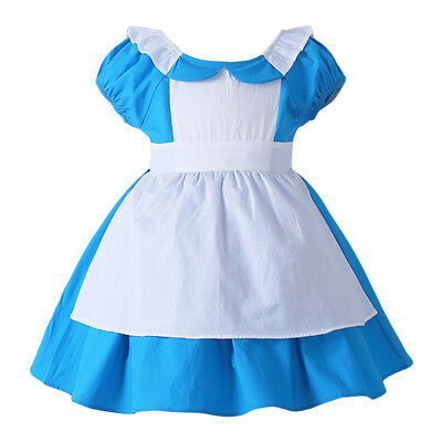 Kids Baby Girls Alice in Wonderland Cosplay Costume Halloween Party Fancy Dress