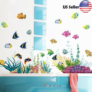 Underwater Sea Kids Fish Removable Wall Decals Ocean Animals Room Decor  Sticker