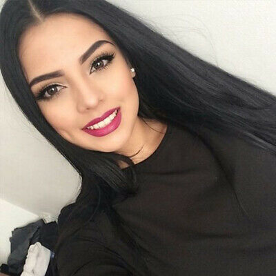 Straight Black Wig (Women Black Long Straight Heat Resistant Human Hair Wig Natural Hairpiece)