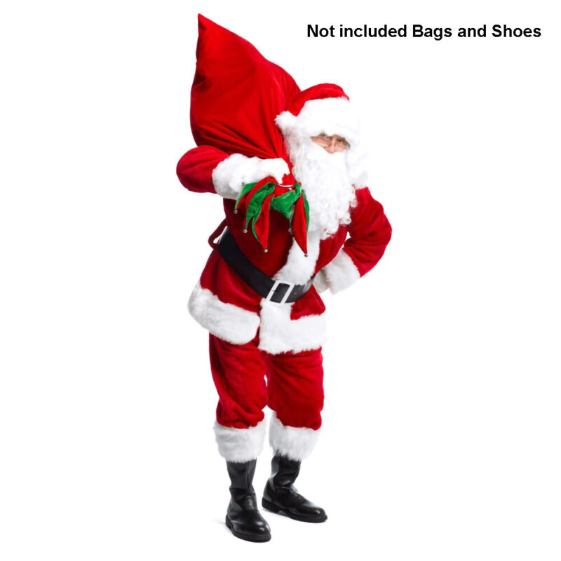 Men Suit Set Christmas Santa Claus Costume Hat+Beard+Top+ Pants+Belt Xmas Dress