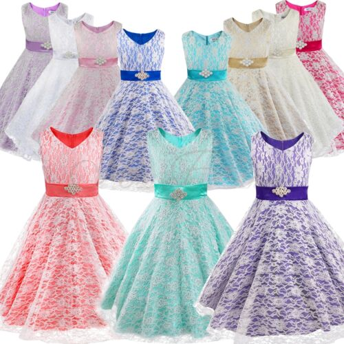 Flower Girls Kids Communion Party Prom Princess Pageant Bridesmaid ...