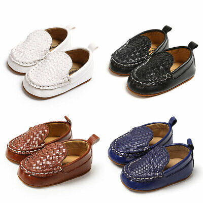 US Kid Baby Toddler Boy moccasin Loafer soft Leather casual PU Boat peas -