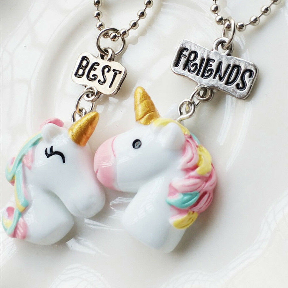 Details About 2Pcs Set Best Friend Unicorn Pendant Necklace Girl BFF Friendship Birthday Gift