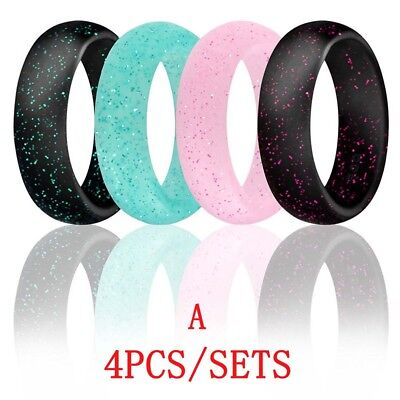 Wedding Mens Womens Ring - 4Pcs Silicone Wedding Ring Mens Womens Rubber Band Durable Flexible Comfortable