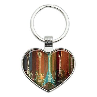 Guitars Electric Acoustic Rock and Roll Heart Love Metal Keychain for sale  Shipping to India