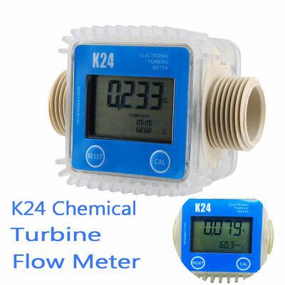 K24 Lcd Turbine Digital Diesel Fuel Flow Meter For Chemicals Water Random Blue
