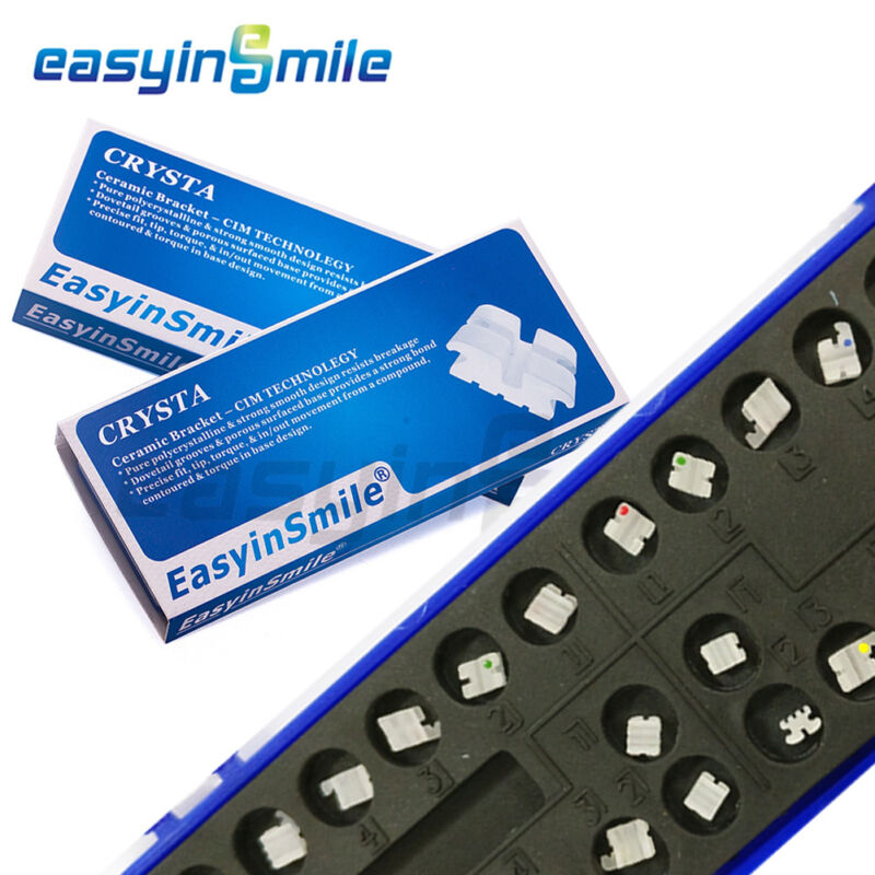 2Pack EASYINSMILE Orthodontic Bracket Crystal Ceramic Brackets Roth 022 345whook