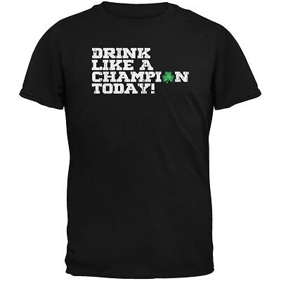 St. Patricks Day - Drink Like a Champion Today Black Adult T-Shirt