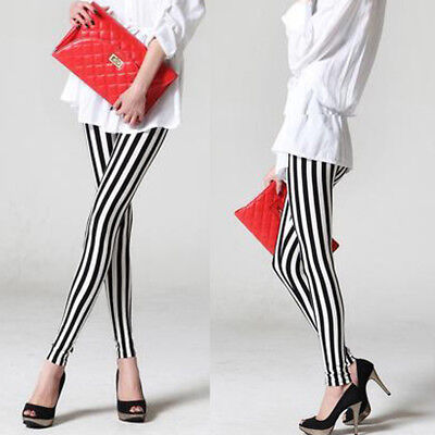 Womens Lady Black White Vertical Stripe Leggings Skinny Slim Trousers Pants