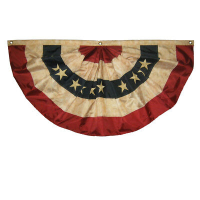 Vintage Tea Stained Red White And Blue 3' American Fan Flag Bunting (Red White And Blue Bunting)