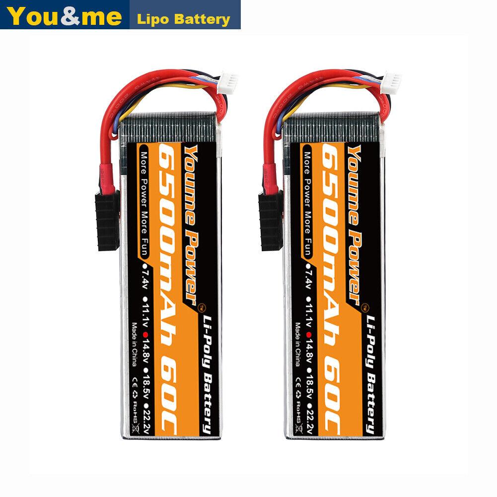 2pcs 14.8V 4S 6500mAh 60C LiPO Battery for RC Airplane Helic