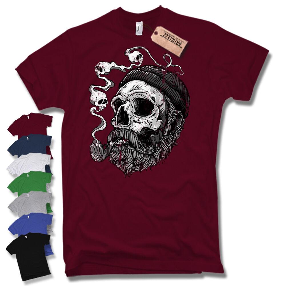T-Shirt -SAILOR BEARD- Pirate Kapitän Skull Bart Baumwolle schwarz S M L XL XXL