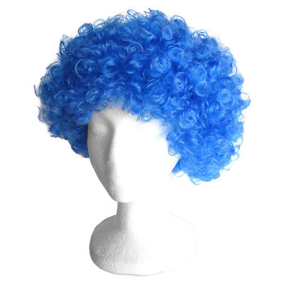 Economy Blue Afro Wig ~ HALLOWEEN 60s 70s DISCO CLOWN COSTUME PARTY CURLY FRO - Blue Clown Wig