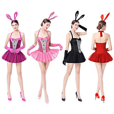 Bunny Girl Ladies Mini Dress Glitter Halloween for Women Costume Cosplay Outfits](Halloween Costumes For Short Girls)