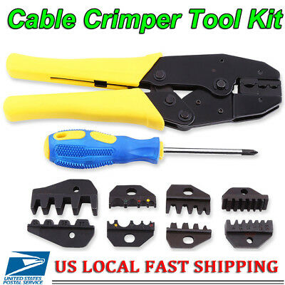 Cable Crimper Tool Kit Wire Terminal Ratchet Plier Crimping Set 0.5-35mm
