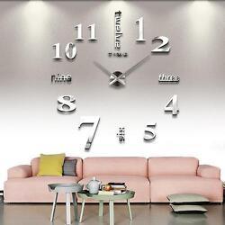 DIY Decorative Large 3D Wall Clock Big Living Room Stickers Art Decal Silver GA