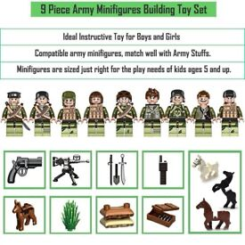 Mini Figures Play Set – 9 Pcs Army Soldiers with military weapons and accesories