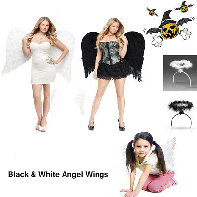 Angel Feather Wings Cosplay Christmas Xmas Dress Costume Event for Kids Adults  - Black Angel Costume For Kids