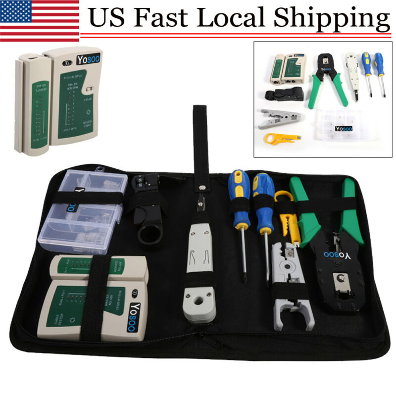 RJ45 RJ11 Ethernet Cable Hand Crimper Network Tester Tool Set Punch Down Impact