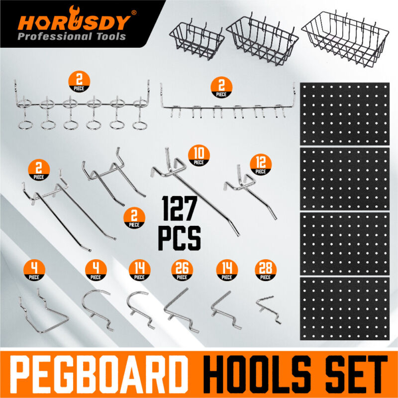 127-Pc Pegboard Hooks Set Assortment with 3 Baskets Organizing 4 Small Pegboard