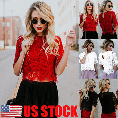 US Summer Women Short Sleeve Elegant Crochet Lace Crop Top Hollow Out Tank Tops