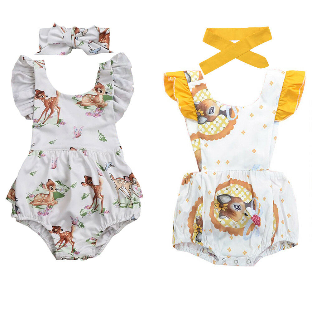 c5985cc67d8 Details about Newborn Baby Girl Bambi Deer Romper Bodysuit + Headband  Clothes Outfits Sunsuit