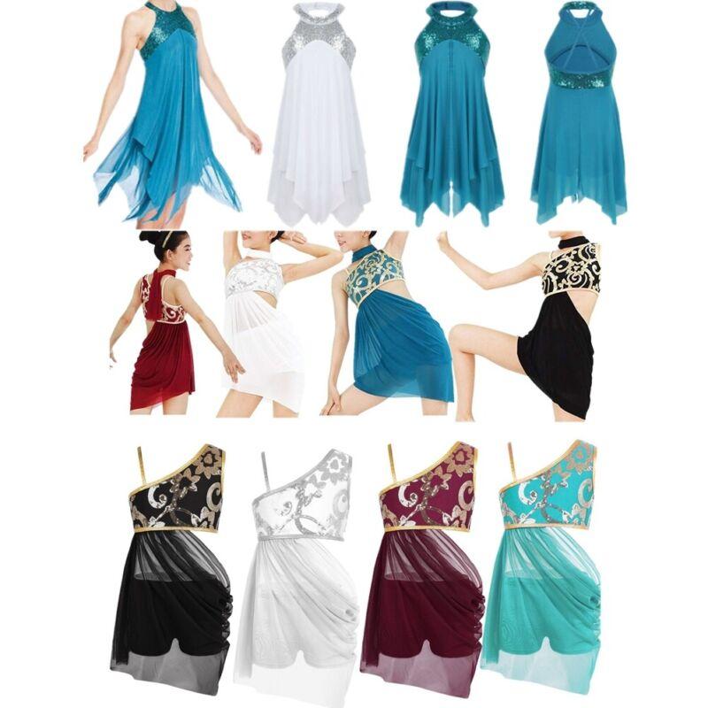 Kid Girls Lyrical Dance Dress Sequin Ballet Latin Dancewear Costume Party Outfit