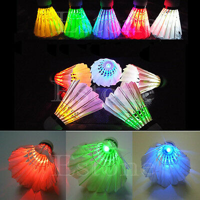 New 4 PCS DARK NIGHT COLORFUL LED BADMINTON SHUTTLECOCK BIRDIES LIGHTING BRAND