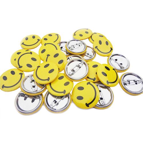 Magik 50 pcs Classic Mini Metal Smiley Smile Face Pinback Button Pins 1 inch