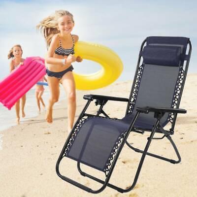 Garden Reclining Sun Lounger Folding Chair Bed Rocker Recliner Beach Camping UK